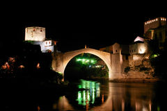 Mostar Bridge in Bosnia - Night scene Royalty Free Stock Photos