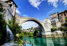 Mostar Bridge in Bosnia Royalty Free Stock Photo