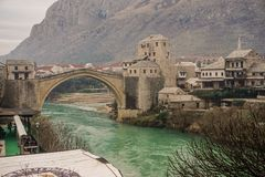 Mostar Bridge and City. Old Town Bridge and City in Mostar, Bosnia Stock Image