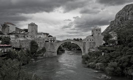 Mostar Bridge, Mostar, Bosnia and Herzegovina. In black and white color Stock Images