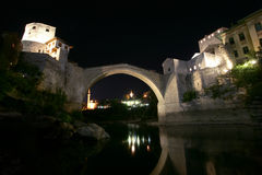 Mostar bridge at night Stock Photography