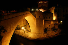 Mostar Bridge - Night scene. Historical Mostar Bridge in the evening - Bosnia Herzegovina Stock Photography