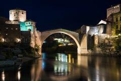 The Mostar Bridge. The Old Bridge in Mostar at night, Bosnia and Herzegovina Stock Photos