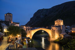 The Mostar Bridge. The Old Bridge in Mostar at night, Bosnia and Herzegovina Royalty Free Stock Image