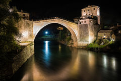 The Mostar Bridge. The Old Bridge in Mostar at night, Bosnia and Herzegovina Royalty Free Stock Images