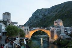 The Mostar Bridge. The Old Bridge in Mostar at sunset, Bosnia and Herzegovina Stock Image