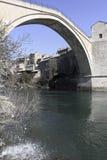 Mostar bridge. The Mostar bridge is one of the famous bridge in Bosnia-Herzegovina. The town is along the the Neretva river Stock Photo