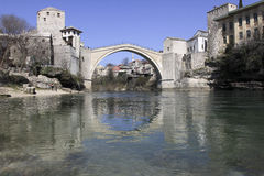 Mostar bridge. The Mostar bridge is one of the famous bridge in Bosnia-Herzegovina. The town is along the the Neretva river Royalty Free Stock Image