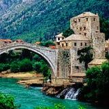 Mostar with bridge over river Neretva, Bosnia- Herzegovina Royalty Free Stock Photo