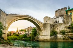 Mostar Bridge. View of famous Mostar Bridge from the bank of Neretva River, Mostar, Bosnia Royalty Free Stock Images