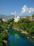Mostar city and Neretva River Royalty Free Stock Image