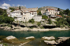 Mostar city seen from the river Neretva. Near The Old Bridge Royalty Free Stock Images