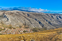 Mostar City Surrounded by Mountains Stock Image