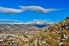Mostar City Surrounded by Mountains Stock Photography
