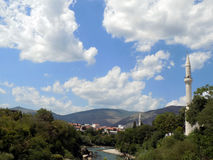 Mostar city. View from old bridge Mostar Royalty Free Stock Image