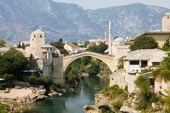 Mostar cityscape with Neretva river and the Old Bridge Stock Photography