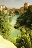 Mostar con el puente famoso Imagenes de archivo