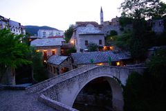 Mostar Crooked Bridge at Twilight Stock Image