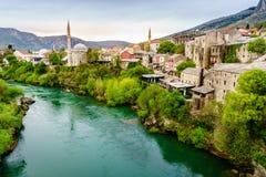 Mostar et rivière de Neretva Photographie stock libre de droits