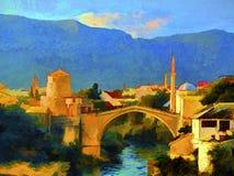 Mostar flod för målning för skogliggandeolja Arkivfoto