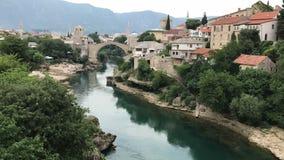 Mostar gammal bro, Stari mest, av ottomanvälden arkivbild
