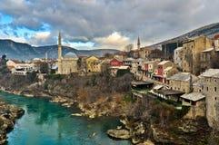 Mostar gammal stadarkitektur Royaltyfri Foto