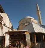 Mostar, horizonte, Koski Mehmed Pasha Mosque, alminar, Bosnia y Herzegovina, Europa, Islam, religión, lugar de culto foto de archivo