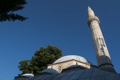 Mostar, horizonte, Koski Mehmed Pasha Mosque, alminar, Bosnia y Herzegovina, Europa, Islam, religión, lugar de culto imágenes de archivo libres de regalías