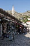 Mostar, horizonte, mezquita, alminar, bazar, Bosnia y Herzegovina, Europa, Islam, religión, lugar de culto fotografía de archivo libre de regalías