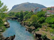 Mostar and Hum Hill Stock Photos