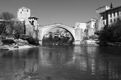 Mostar most w Czarny i biały, Obrazy Royalty Free