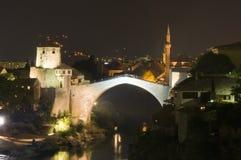 Mostar - nattpanorama Arkivbilder