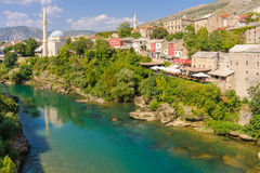 Mostar Neretva river Koski Mehmed Pasha mosque Royalty Free Stock Photography