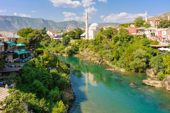 Mostar Neretva river Koski Mehmed Pasha mosque Stock Photography