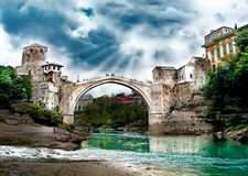 MOSTAR-Old Bridge. And river Nertva Royalty Free Stock Images