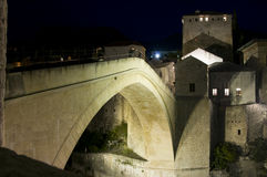Mostar - Old Bridge at night Royalty Free Stock Image