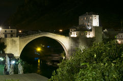 Mostar - Old Bridge at night Royalty Free Stock Images