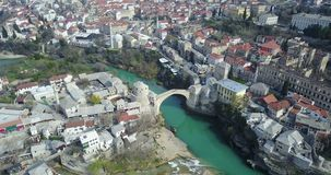 Mostar Old Bridge over the Neretva River. Stari Most - Old Bridge is a 16th century Ottoman bridge in the city of Mostar, Bosnia and Herzegovina that crosses the Royalty Free Stock Photos