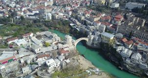 Mostar Old Bridge over the Neretva River. Stari Most - Old Bridge is a 16th century Ottoman bridge in the city of Mostar, Bosnia and Herzegovina that crosses the Stock Photography