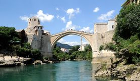 Mostar - the Old Bridge (Stari Most). Photo of the old turkish bridge in Mostar connecting the Muslim (bosnian) side to the catholics (croats) - it was destroyed Royalty Free Stock Photography