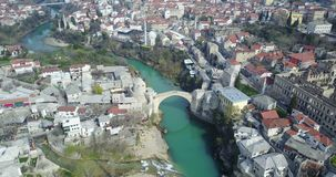 Mostar Old Bridge. Stari Most - Old Bridge is a 16th century Ottoman bridge in the city of Mostar, Bosnia and Herzegovina that crosses the river Neretva and Royalty Free Stock Photo
