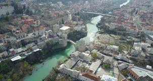 Mostar Old Bridge. Stari Most - Old Bridge is a 16th century Ottoman bridge in the city of Mostar, Bosnia and Herzegovina that crosses the river Neretva and Royalty Free Stock Photography