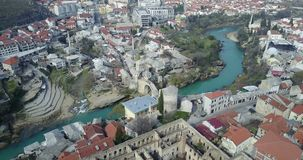 Mostar Old Bridge. Stari Most - Old Bridge is a 16th century Ottoman bridge in the city of Mostar, Bosnia and Herzegovina that crosses the river Neretva and Royalty Free Stock Image