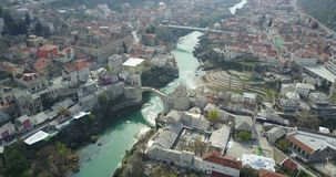 Mostar Old Bridge. Stari Most - Old Bridge is a 16th century Ottoman bridge in the city of Mostar, Bosnia and Herzegovina that crosses the river Neretva and Stock Images