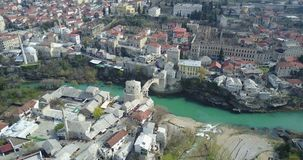 Mostar Old Bridge. Stari Most - Old Bridge is a 16th century Ottoman bridge in the city of Mostar, Bosnia and Herzegovina that crosses the river Neretva and Stock Photos