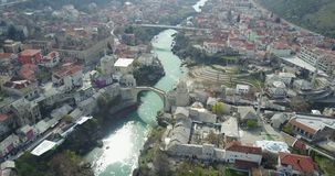 Mostar Old Bridge. Stari Most - Old Bridge is a 16th century Ottoman bridge in the city of Mostar, Bosnia and Herzegovina that crosses the river Neretva and Stock Photography