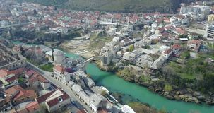 Mostar Old Bridge. Stari Most - Old Bridge is a 16th century Ottoman bridge in the city of Mostar, Bosnia and Herzegovina that crosses the river Neretva and Stock Photo
