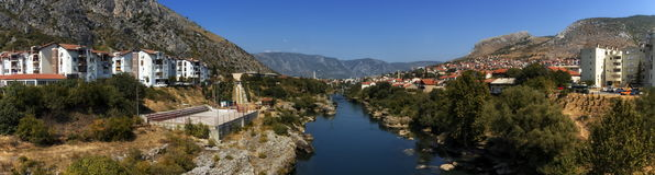 Mostar old city, Bosnia and Herzegovina. Panoramic view of Neretva river and old city of Mostar by day, Bosnia and Herzegovina royalty free stock photo