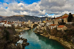 Mostar Old Town Cityscape and Landscape Stock Images