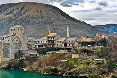 Mostar Old Town with Mountain Landscape Royalty Free Stock Photos